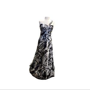 Deb Black & White satin one shoulder dress